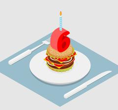 6 years birthday burger. Number six with candle. Burger anniversary celebrati - stock illustration
