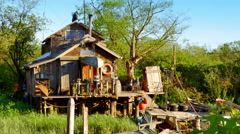 4K Fishing House, Shanty Town Village, Seaside Living Stock Footage