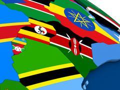 Kenya, Uganda, Rwanda and Burundi on globe with flags - stock illustration