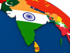 India on globe with flags - stock illustration