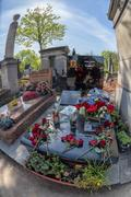 PARIS, FRANCE - MAY 2, 2016: Monumental  Pere-Lachaise cemetery, Paris. Each  - stock photo