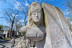 PARIS, FRANCE - MAY 2, 2016: Monumental  Pere-Lachaise cemetery, Paris. Each  Stock Photos