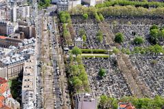 Cemetery paris building city view aerial landscape from montparnasse tower Stock Photos