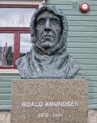 Polar Explorer Roald Amundsen Statue in Tromso, Norway - stock photo