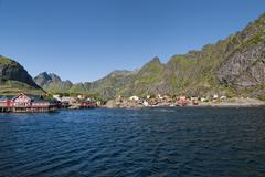 Lofoten Island Norway Fjord view on sunny day - stock photo