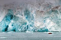 Zodiac near Svalbard Spitzbergen island glacier view landscape panorama Stock Photos