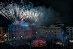 GENOA, ITALY - DECEMBER, 19 2015 - Happy new year and merry xmas fireworks in - stock photo