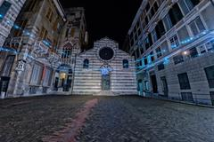 Genoa night view of san matteo church and plaza during christmas time Stock Photos