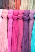 Various different colors silk fabric cloth Stock Photos