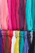 Various different colors silk fabric cloth - stock photo