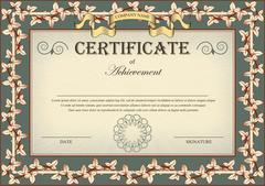 Vintage Certificate Ornament Frame Bindweed Ivy Stock Illustration