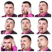 Collage of fat businessman with different emotions Stock Photos
