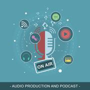 Audio production and podcast vector illustration. Editable flat design concep Stock Illustration