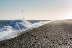 Windy sandy beach in patagonia Argentina Stock Photos