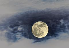 Full Moon on the light blue Stock Photos