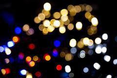 blur lights christmas background on black - stock photo