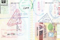 Passport visa of different destinations scenic Stock Photos