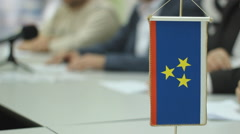 Flag Vojvodina EU Political party,promotion program press conference Stock Footage