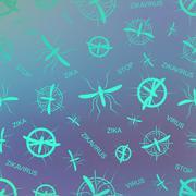 Zika virus pattern. Aedes Aegypti  pattern texture background - stock illustration