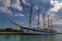 Five mast sailing ship Stock Photos