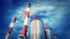 Heating plant with chimney - stock footage