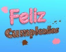 Bright congratulation Happy Birthday made of chocolate and confetti Stock Illustration