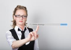online strategy written in search bar on virtual screen. Internet technologies - stock photo