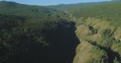 Flight over the Mountains. Altai. Siberia. Flying over the River. Forest Valley. Stock Footage