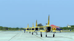 Fighter jets lineup takeoff - stock footage