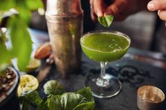 Barman preparing basil smash cocktail Stock Photos