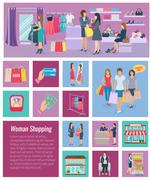 Woman Shopping Icon Flat - stock illustration