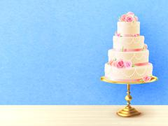 Wedding Cake With Roses Realistic Image - stock illustration