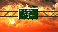Passing under Buffalo USA Airport Highway Sign in a Beautiful Cloudy Sunset - stock illustration