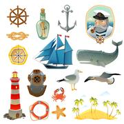 Sea Nautical Decorative Elements Set - stock illustration