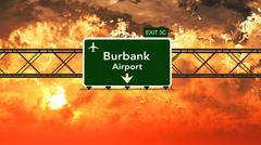 Passing under Burbank Bob Hope USA Airport Highway Sign in a Beautiful Cloudy - stock illustration