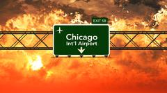 Passing under Chicago USA Airport Highway Sign in a Beautiful Cloudy Sunset - stock illustration