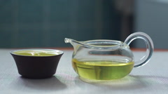 Close-up view of the chinese bowl with chinese oolong tea Stock Footage