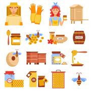 Honey Beekeeping Icon Set - stock illustration