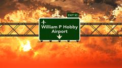 Passing under Houston William P Hobby USA Airport Highway Sign in a Beautiful - stock illustration