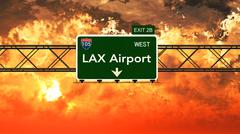 Passing under Los Angeles LAX USA Airport Highway Sign in a Beautiful Cloudy  - stock illustration