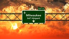Passing under Milwaukee USA Airport Highway Sign in a Beautiful Cloudy Sunset - stock illustration