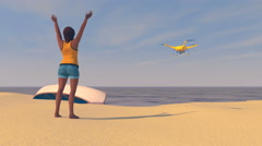 Female figure on a beach waving to a UAV drone, 3D render Stock Footage
