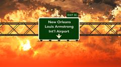 Passing under New Orleans Louis Armstrong USA Airport Highway Sign in a Beaut Stock Illustration