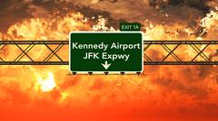 Passing under JFK Kennedy USA Airport Highway Sign in a Beautiful Cloudy Suns - stock illustration