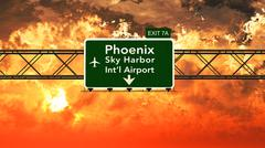 Passing under Phoenix Sky Harbor USA Airport Highway Sign in a Beautiful Clou - stock illustration