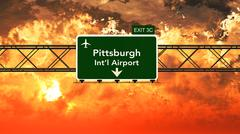 Passing under Pittsburgh USA Airport Highway Sign in a Beautiful Cloudy Sunse - stock illustration