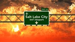 Passing under Salt Lake City USA Airport Highway Sign in a Beautiful Cloudy S - stock illustration