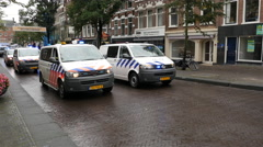 Dutch Police Cars Protesting  Working Conditions - The Hague Netherlands Stock Footage