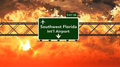 Passing under Southwest Florida USA Airport Highway Sign in a Beautiful Cloud - stock illustration