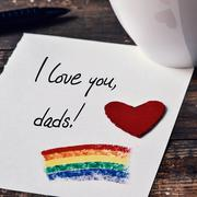 text I love you dads written in a note - stock photo